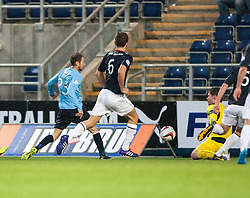 Falkirk's keeper Michael McGovern saves from Dundee's Martin Boyle.<br /> Falkirk 2 v 0 Dundee, Scottish Championship game at The Falkirk Stadium.<br /> © Michael Schofield.