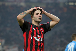 January 26, 2019 - Milan, Milan, Italy - Patrick Cutrone #63 of AC Milan reacts to a missed chance during the serie A match between AC Milan and SSC Napoli at Stadio Giuseppe Meazza on January 26, 2018 in Milan, Italy. (Credit Image: © Giuseppe Cottini/NurPhoto via ZUMA Press)