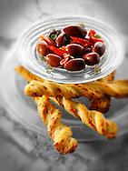 Olives an bread sticks snack