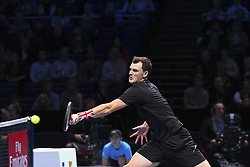 November 17, 2017 - London, England, United Kingdom - Jamie Murray of Great Britain in action in the Doubles match against Lukasz Kubot of Poland and Marcelo Melo of Brazil during day six of the Nitto ATP World Tour Finals at O2 Arena on November 17, 2017 in London, England. (Credit Image: © Alberto Pezzali/NurPhoto via ZUMA Press)
