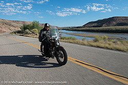 Brent Mayfield on his 1935 Harley-Davidson riding the two-lane Utah Highway 128 along the Colorado River south toward Moab during stage 11 (289 miles) of the Motorcycle Cannonball Cross-Country Endurance Run, which on this day ran from Grand Junction, CO to Springville, UT., USA. Tuesday, September 16, 2014.  Photography ©2014 Michael Lichter.