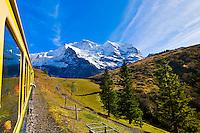 Jungfrau Railway train descending from Wengernalp to Wengen, Swiss Alps, Canton Bern, Switzerland