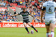 Hull FC scrum half Marc Sneyd (7) scores a drop goal  during the Challenge Cup 2017 semi final match between Hull RFC and Leeds Rhinos at the Keepmoat Stadium, Doncaster, England on 29 July 2017. Photo by Simon Davies.
