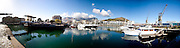 View across the water basin at the Victoria and Alfred waterfront in Cape Town. Stitched panoramic image. Greg Beadle shoots panoramic images
