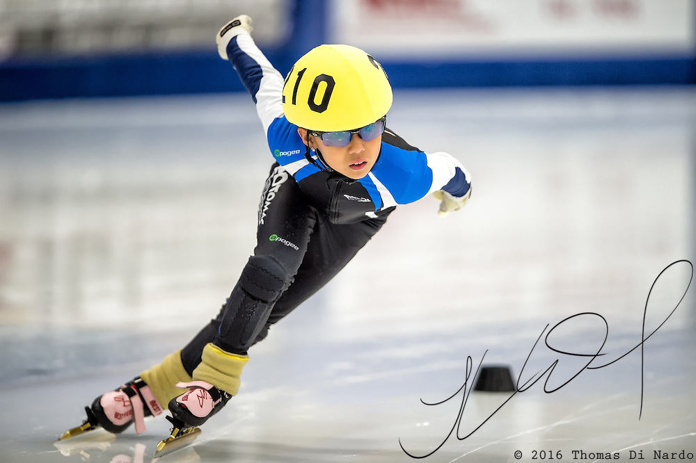March 19, 2016 - Verona, WI - Kyungeun Jang, skater number 210 competes in US Speedskating Short Track Age Group Nationals and AmCup Final held at the Verona Ice Arena.