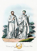 Arch-Druid holding sceptre, crowned with oak leaves. Druid holds Crescent (Caed-Rai-Re) representing first quarter of Moon. Robes white for holiness. At bottom are gold Crescent found in Ireland and sacred gold hook for cutting mistletoe. Aquatint 1815.