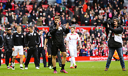 Steven Gerrard applauds the fans after the game - Photo mandatory by-line: Dougie Allward/JMP - Mobile: 07966 386802 - 29/03/2015 - SPORT - Football - Liverpool - Anfield Stadium - Gerrard's Squad v Carragher's Squad - Liverpool FC All stars Game