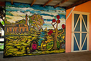 Mural to coffee in the Plaza de Recreo in the town of Yauco Puerto Rico