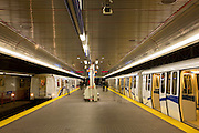 A Skytrain Station, part of the subway system, Vancouver, British Columbia, Canada.