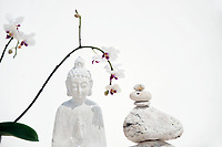 White Buddha White buddha wood statue with orchid  flowers and balanced stones. Still Life Photography. White buddha wood statue with orchid  flowers and balanced stones. The Hardlight Studio.