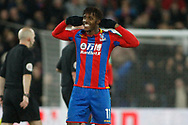 Wilfried Zaha of Crystal Palace celebrates at the final whistle. Premier League match, Crystal Palace v Watford at Selhurst Park in London on Tuesday 12th December 2017. pic by Steffan Bowen, Andrew Orchard sports photography.
