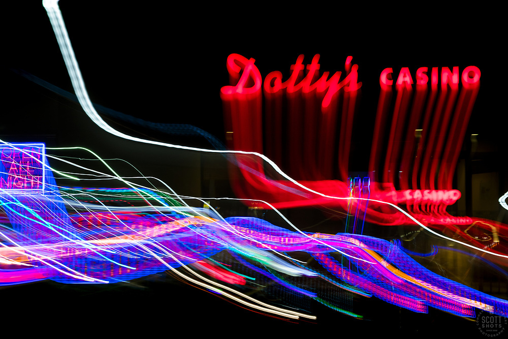 """""""Tahoe Lights 11"""" - Photograph taken at the Lake Tahoe southern state line casinos. The look was achieved by shooting a handheld long exposure and zooming the lens during the exposure."""