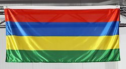 A general view of the flag of Mauritius at the Carrara Stadium during day seven of the 2018 Commonwealth Games in the Gold Coast, Australia. PRESS ASSOCIATION Photo. Picture date: Wednesday April 11, 2018. See PA story COMMONWEALTH Athletics. Photo credit should read: Danny Lawson/PA Wire. RESTRICTIONS: Editorial use only. No commercial use. No video emulation.
