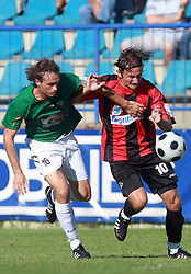 Miha Golob (16) of Rudar and Nedzad Serdarevic (10) of Primorje at 6th Round of PrvaLiga Telekom Slovenije between NK Primorje Ajdovscina vs NK Rudar Velenje, on August 24, 2008, in Town stadium in Ajdovscina. Primorje won the match 3:1. (Photo by Vid Ponikvar / Sportal Images)