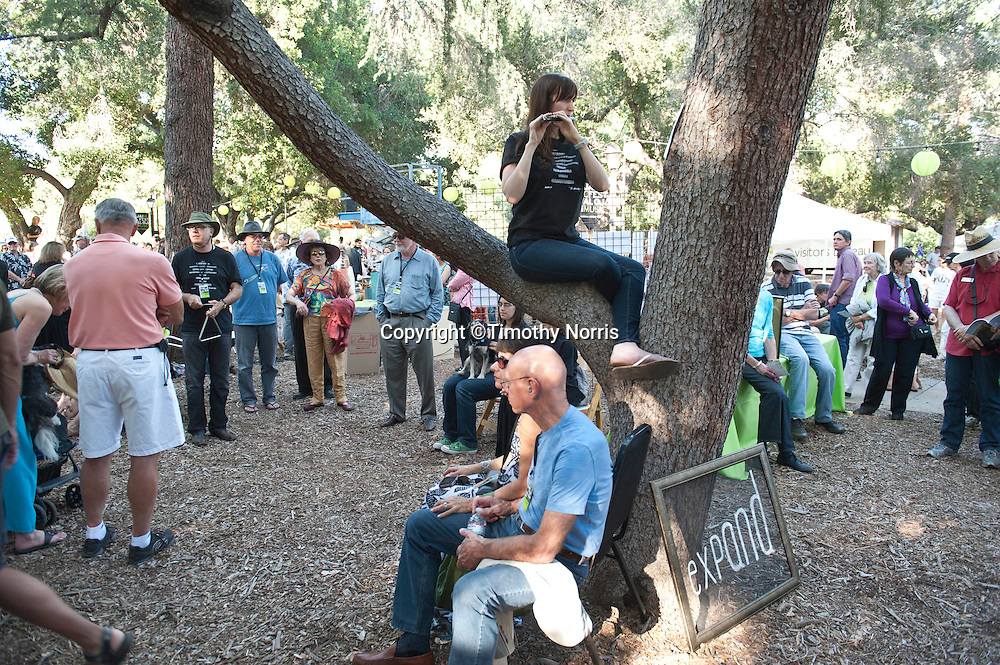 Piccolo player Rachel Beetz performs in the West Coast premiere of Inuksuit at the 66th Ojai Music Festival on June 7, 2012 in Ojai, California.