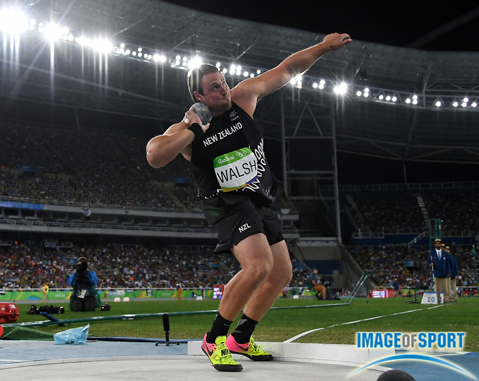Aug 18, 2016; Rio de Janeiro, Brazil; Tomas Walsh (NZL) places third in the shot put at 70-1 (21.36m) during the 2016 Rio Olympics at Estadio Olimpico Joao Havelange.