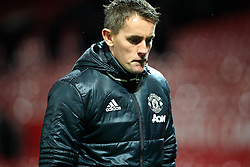 © Licensed to London News Pictures . 12/12/2016 . Manchester , UK . MUFC Youth Manager KIERAN McKENNA leaves the pitch after the final whistle . Manchester United vs Southampton FA Youth Cup Third Round match at Old Trafford . Photo credit : Joel Goodman/LNP