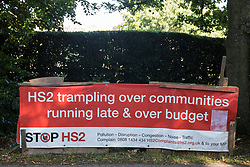 A banner at the Stop HS2 Great Missenden roadside camp is seen on 17th July 2020 in Great Missenden, United Kingdom. Environmental activists from groups including Stop HS2 and HS2 Rebellion continue to protest against HS2, which is currently projected to cost £106bn and which will remain a net contributor to CO2 emissions during its projected 120-year lifespan, on environmental and economic grounds.