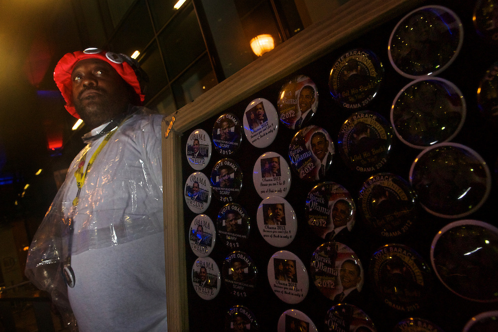 Street vendor Kamar Allah, from New York City, tries to sell Pres. Barack Obama pins  during 2012 Democratic National Convention on Tuesday, September 4, 2012 in Charlotte, NC.