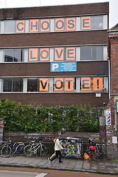 © Licensed to London News Pictures.  08/06/2017; Bristol, UK. General Election 2017; Polling day in Bristol West constituency with graffiti and placards in the Stokes Croft area. Picture credit : Simon Chapman/LNP