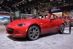 09 February 2017:  Mazda 2017 MX5 Miata RF with Skyactive technology<br /> <br /> First staged in 1901, the Chicago Auto Show is the largest auto show in North America and has been held more times than any other auto exposition on the continent.  It has been  presented by the Chicago Automobile Trade Association (CATA) since 1935.  It is held at McCormick Place, Chicago Illinois<br /> #CAS17