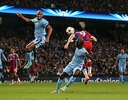 Robert Lewandowski of Bayern Munich scores the second goal before half time - UEFA Champions League group E - Manchester City vs Bayern Munich - Etihad Stadium - Manchester - England - 25rd November 2014  - Picture Simon Bellis/Sportimage