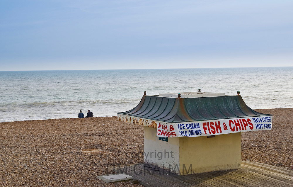 Fish and chip shop on Brighton beach out of season, South Coast of England, United Kingdom