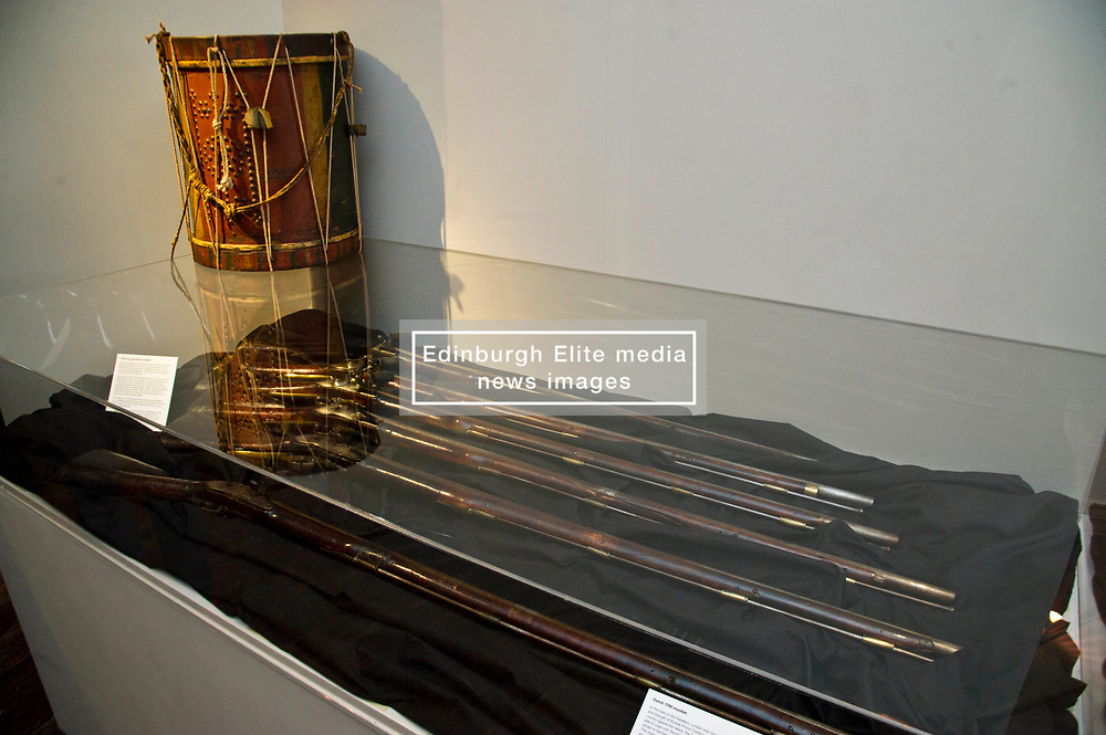 Pictured: <br /> <br /> The latest Museum of Edinburgh exhibition documents the history of Edinburgh's Town Guard, which brought law and order to the city in the 18th century. Curator Nico Tyack and Museum Assistant David Mclay examined muskets, halberds and drums before the exhibition was opened to the public<br /> <br /> Ger Harley   EEm 15 June 2017