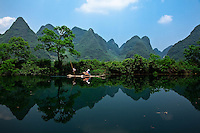 Bamboo raft floating down the  Dragon River near Yangshuo.