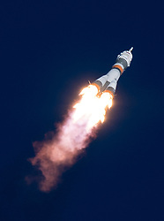 The Soyuz MS-07 rocket is launched with Expedition 54 Soyuz Commander Anton Shkaplerov of Roscosmos, flight engineer Scott Tingle of NASA, and flight engineer Norishige Kanai of Japan Aerospace Exploration Agency (JAXA), Sunday, December 17, 2017 at the Baikonur Cosmodrome in Kazakhstan. Shkaplerov, Tingle, and Kanai will spend the next five months living and working aboard the International Space Station. Photo by Joel Kowsky / NASA via CNP/ABACAPRESS.COM
