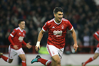 Eric Lichaj celebrates his opening goal for Forest  during The Emirates FA Cup Third Round match between Nottingham Forest and Arsenal at City Ground on January 7, 2018 in Nottingham, England..