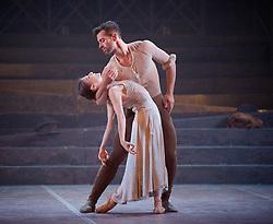 English National Ballet <br /> Triple Bill<br /> at Sadler's Wells, London, Great Britain <br /> rehearsal <br /> 7th September 2015 <br /> <br /> No Man's Land <br /> <br /> by Liam Scarlett <br /> <br /> Alina Cojocaru <br /> James Forbat <br /> <br /> <br /> <br /> <br /> Photograph by Elliott Franks <br /> Image licensed to Elliott Franks Photography Services