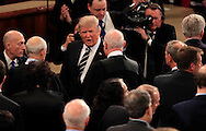 President Donald Trump talks to Supreme Court Justice Anthony Kennedy  as he arrives in the House of Representatives Chamber to give  a speech to a joint session of Congress on February 28, 2017<br /> <br /> Photo by Dennis Brack