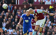 Lukas Jutkiewicz of Birmingham city (l)  battles with Alan Hutton of Aston Villa.  EFL Skybet championship match, Aston Villa v Birmingham city at Villa Park in Birmingham, The Midlands on Sunday 23rd April 2017.<br /> pic by Bradley Collyer, Andrew Orchard sports photography.