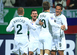 Slovenian players  Andraz Kirm (17), Valter Birsa (10), Zlatan Ljubijankic (9) celebrate first goal at the fourth round qualification game of 2010 FIFA WORLD CUP SOUTH AFRICA in Group 3 between Slovenia and Northern Ireland at Stadion Ljudski vrt, on October 11, 2008, in Maribor, Slovenia.  (Photo by Vid Ponikvar / Sportal Images)