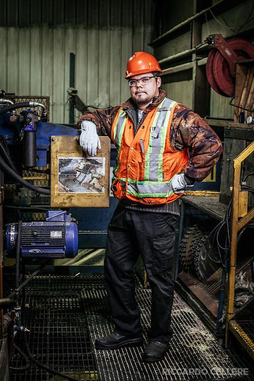 Corporate photography. Portrait of mill worker, Opitciwan Sawmill, Obediwan. 2014.
