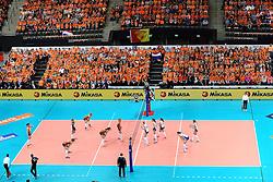 04-10-2015 NED: Volleyball European Championship Final Nederland - Rusland, Rotterdam<br /> Nederland verliest kansloos met 3-0 van het sterke Rusland / Overzicht Ahoy publiek support Centercourt