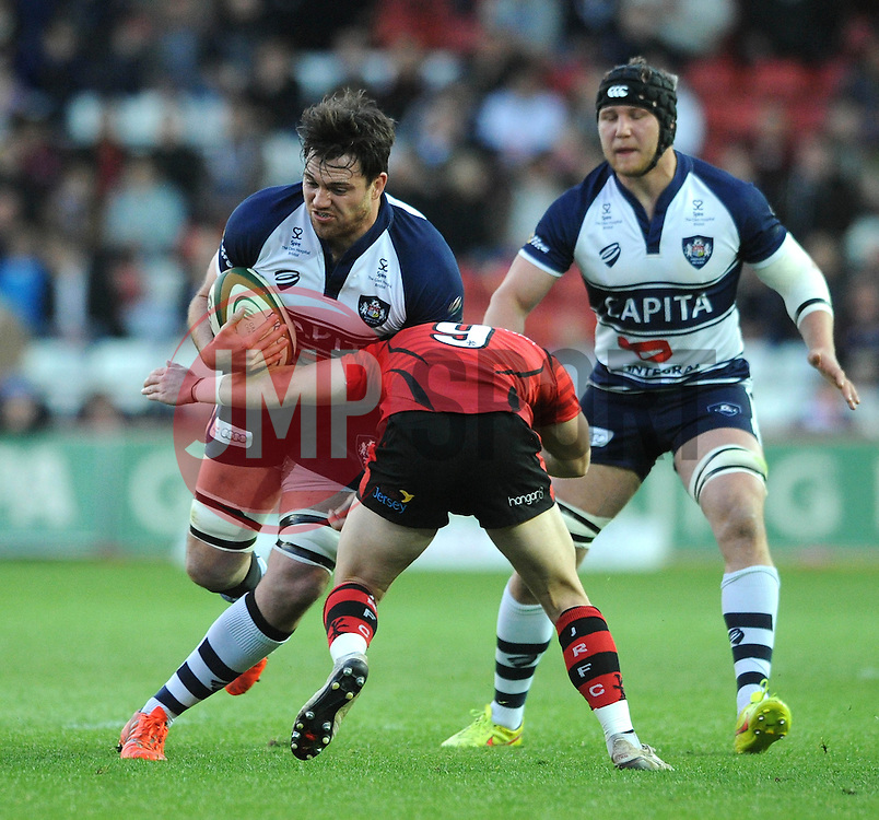 Bristol Rugby's Glen Townson is challenged by Jersey Rugby's Ryan Glynn - Photo mandatory by-line: Dougie Allward/JMP - Mobile: 07966 386802 - 17/04/2015 - SPORT - Rugby - Bristol - Ashton Gate - Bristol Rugby v Jersey - Greene King IPA Championship