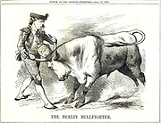 The Berlin Bullfighter' cartoon by John Teniel from 'Punch', London, 17 April 1875, showing the German Chancellor, Otto von Bismarck subduing the Roman Catholic Church in the form of a bull wearing the Papl crown.