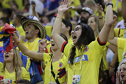 June 24, 2018 - Kazan, Russia - June 24, 2018. - Russia, Kazan. - Kazan Arena. FIFA World Cup 2018. Group H. Poland (white T-Shirts) v Columbia, 3:0. In picture: fans from Columbia. (Credit Image: © Russian Look via ZUMA Wire)