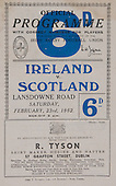 Rugby 23/02/1952 Five Nations Ireland Vs Scotland