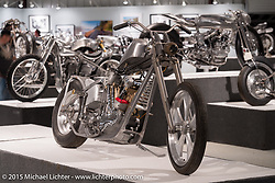 """Dalton Walker's Petruzzi Knucklehead in Michael Lichter's Motorcycles as Art annual exhibition titled """"The Naked Truth"""" at the Buffalo Chip Gallery during the 75th Annual Sturgis Black Hills Motorcycle Rally.  SD, USA.  August 4, 2015.  Photography ©2015 Michael Lichter."""