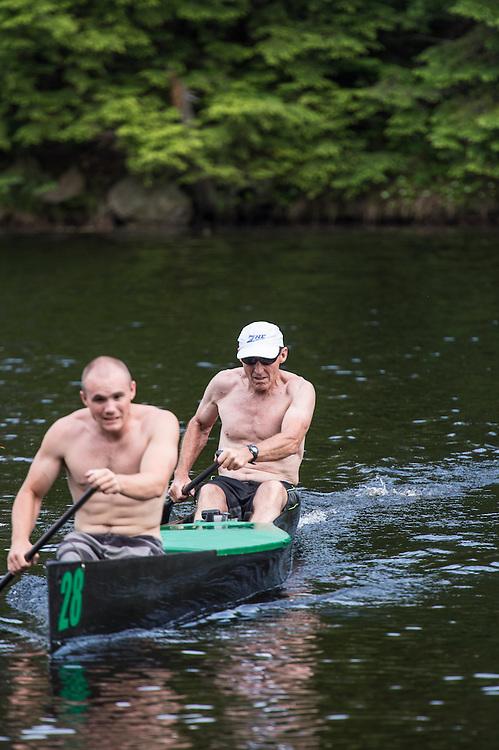 Canoeing legend Steve Landick and his son Connor train on the Dead River near Marquette, Michigan.