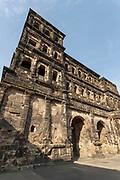 Porta Nigra, a large Roman city gate in Trier, Germany.