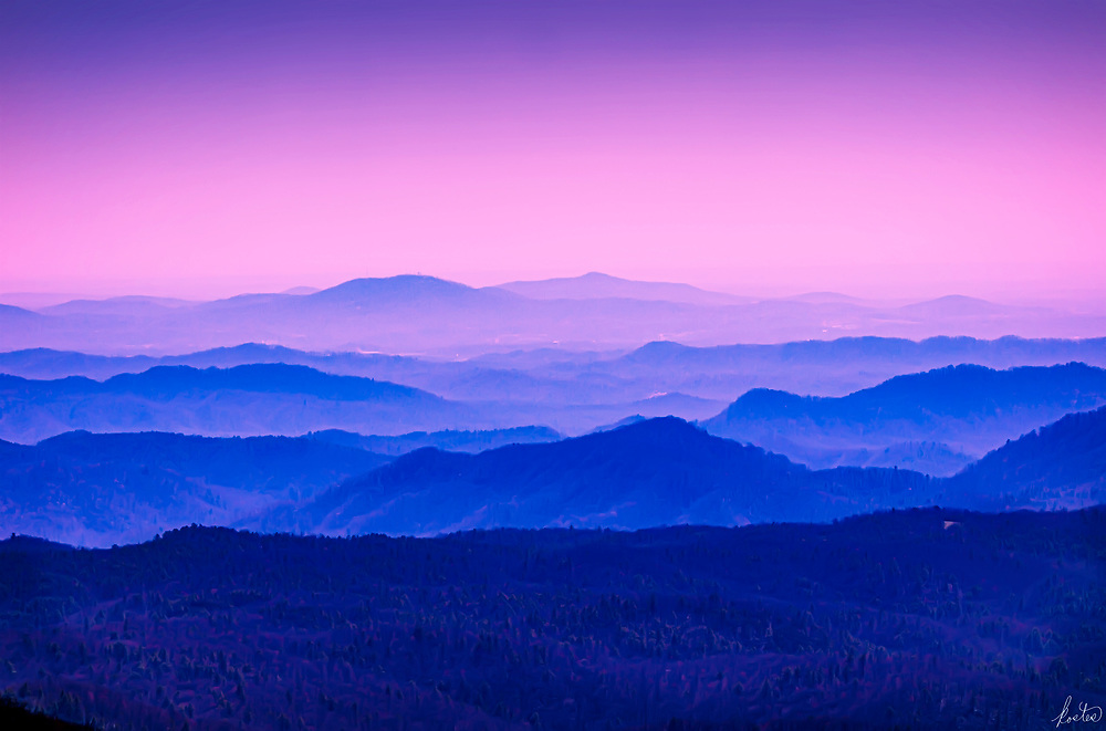 Blue Ridge Mountains shortly after sunset.