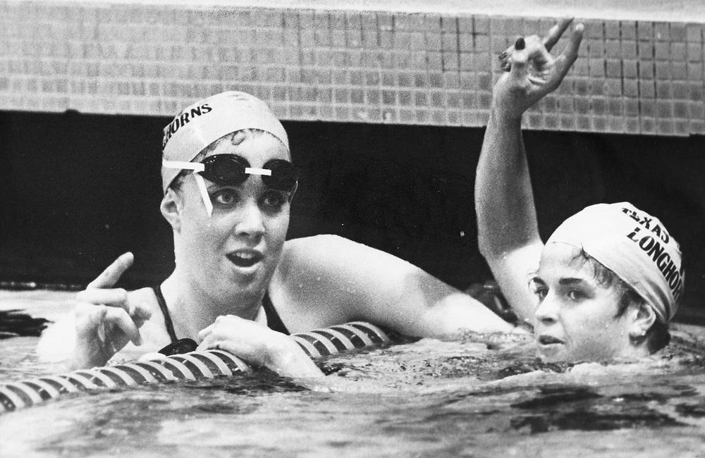 ©1986 UT swimmer Tiffany Cohen, l, at the University of Texas at Austin pool