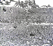 The Battle of Grunwald (1st Battle of Tannenberg) July 15, 1410. king Jogaila (W?adys?aw II Jagie??o) led Kingdom of Poland and the Grand Duchy of Lithuania in alliance against the knights of the Teutonic Order who were led by the Grand Master Ulrich von Jungingen. Engraving by Marcin Bielski, 1554