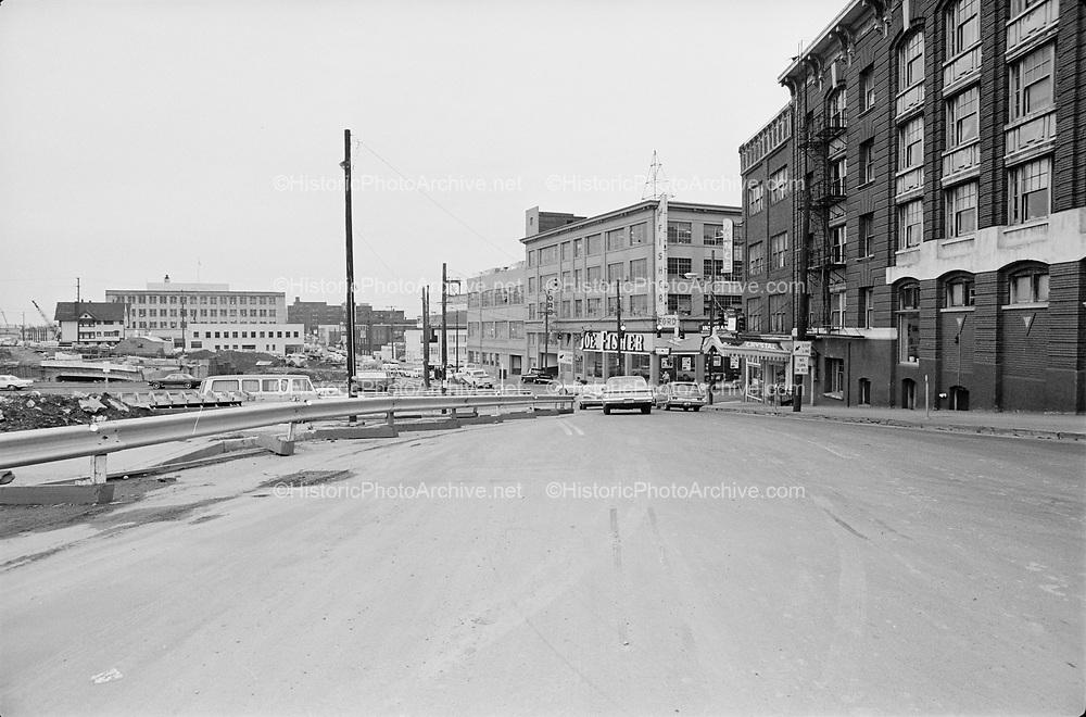 "Y-670203B-11.  ""Intersection of west Burnside & 14th for traffic court. February 3, 1967"" Crystal Ballroom, I-405 Stadium Freeway construction.Portland, Oregon."