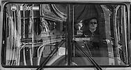 France. Paris 10th district, bus driver in a tourist bus