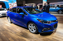 NEW YORK, USA - MARCH 23, 2016: Chevrolet Cruze on display during the New York International Auto Show at the Jacob Javits Center.